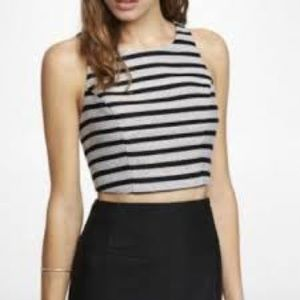 NWT Express Black and White Striped Tweed Top